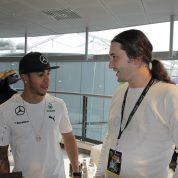 S Lewisom Hamiltonom nakon njegovog osvajanja naslova prvaka 2015., Monza